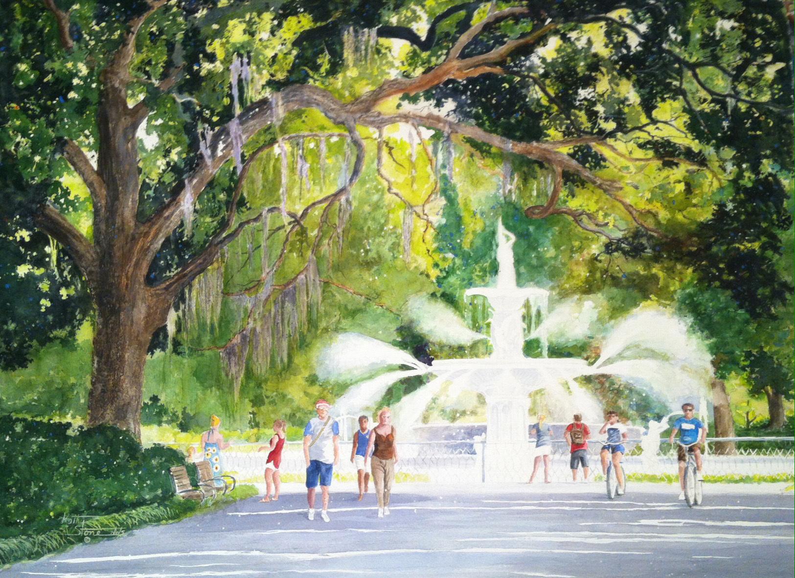 Stone-Kathy-Miller-Forsyth-Park-Fountain-22x30