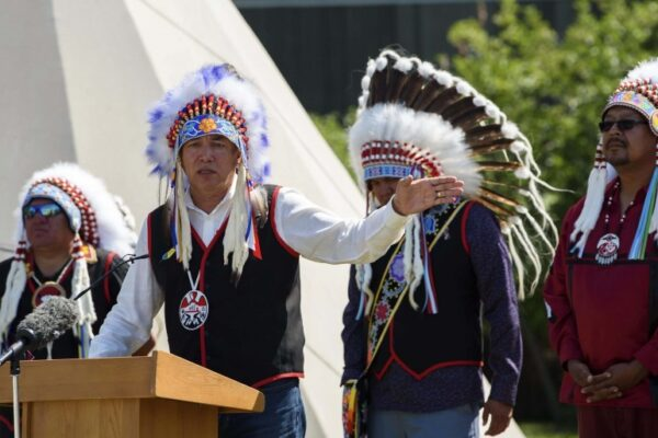 JESSE BOILY  / WINNIPEG FREE PRESS Chief Dennis Meeches speaks at the 149 years commemoration of Treaty No. 1 at Lower Fort Garry National Historic Site on Monday. Monday, Aug. 3, 2020. Reporter: Piche