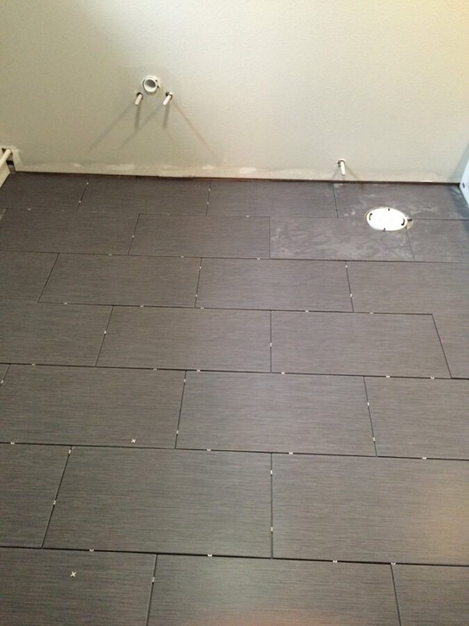 Basement floor tile from Home Depot