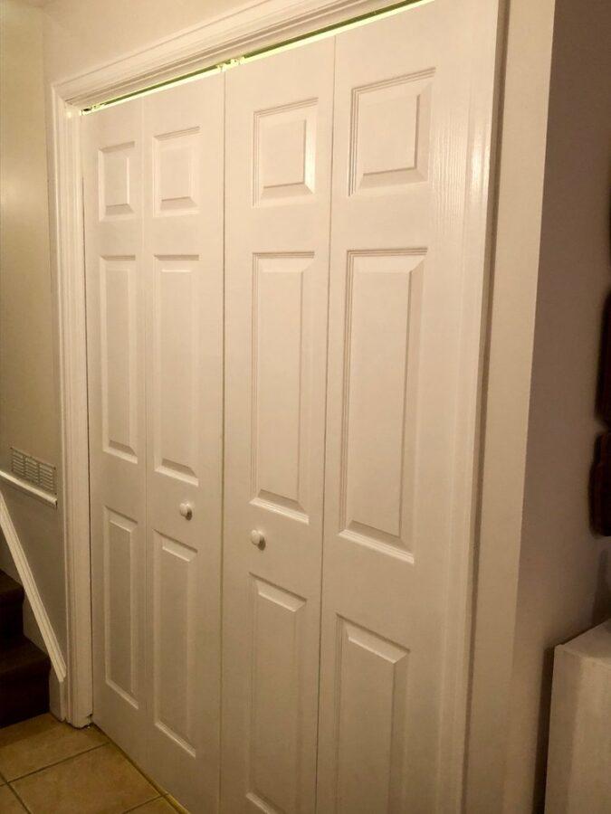 New closet doors into the laundry room.
