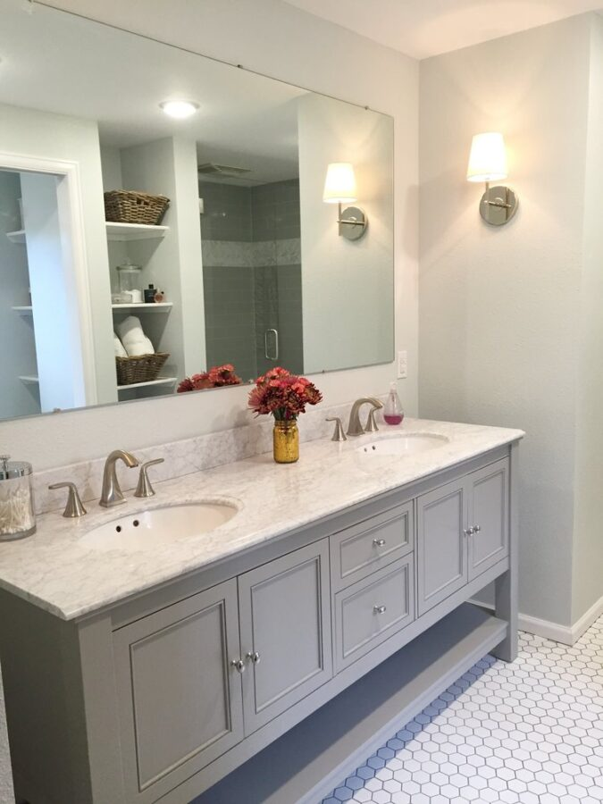 The master bathroom vanity and sconces.