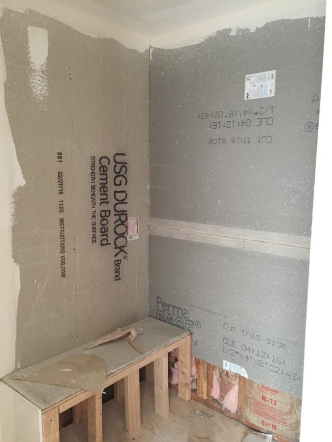 Construction of our walk-in shower.