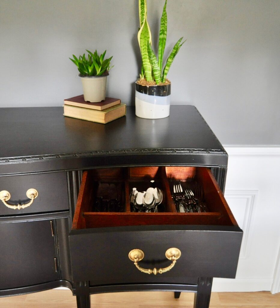 DIning room buffet with silverware drawer
