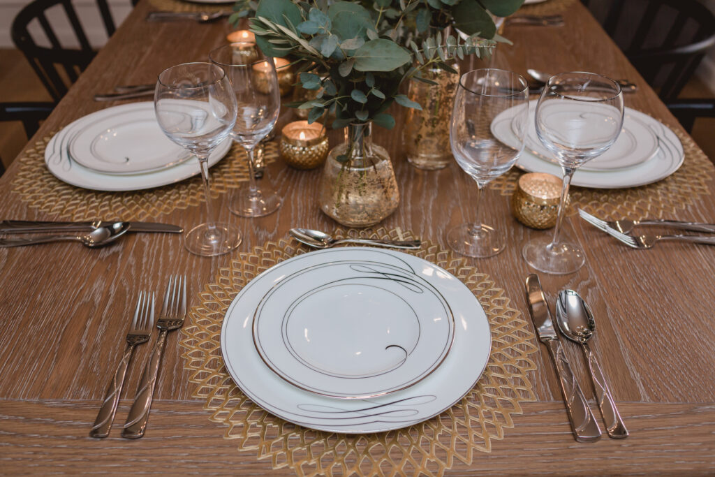 Dining room table set for a holiday party
