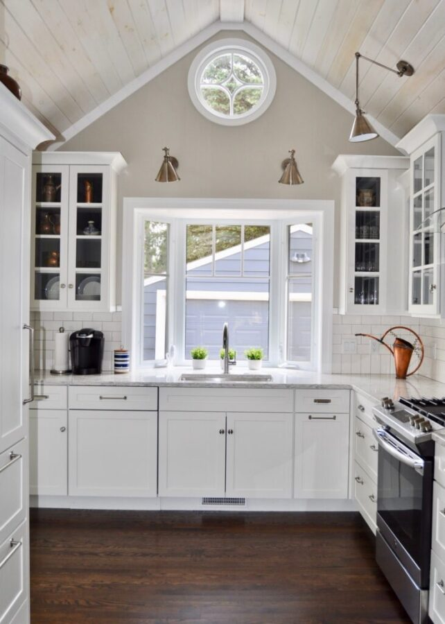 Renovated kitchen with vaulted ceilings