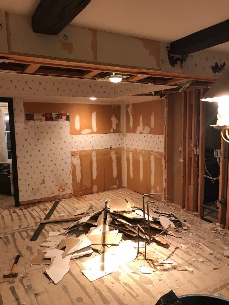 Demolishing the old kitchen