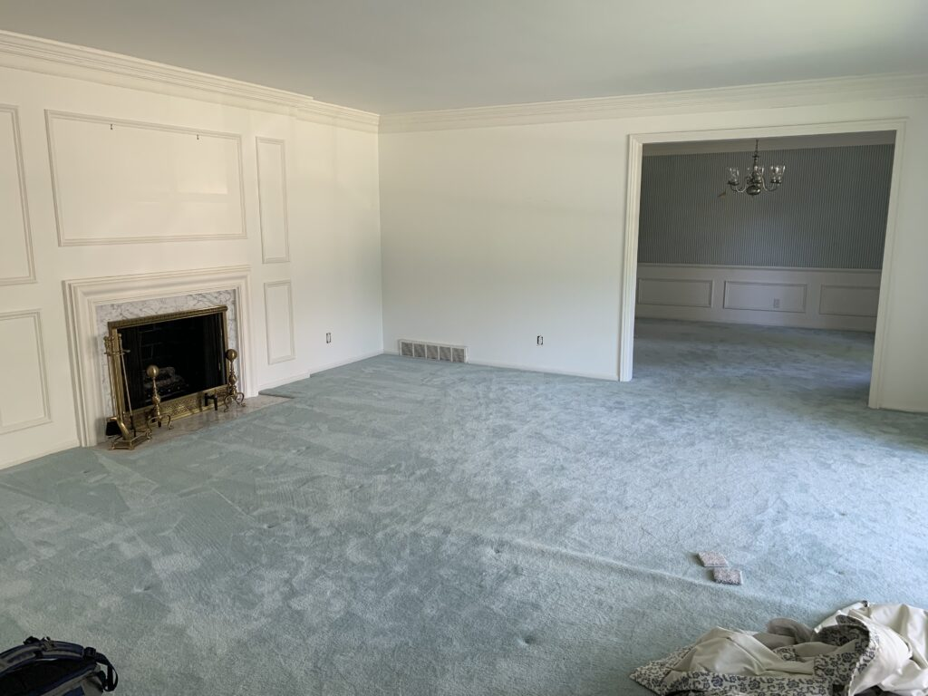 The formal living room that will be updated to our adult family room.