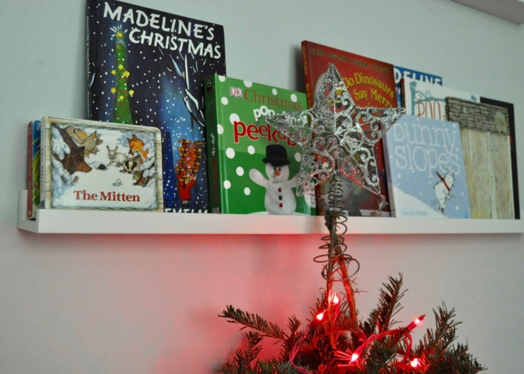 Display holiday children's books to add Christmas cheer to any bedroom