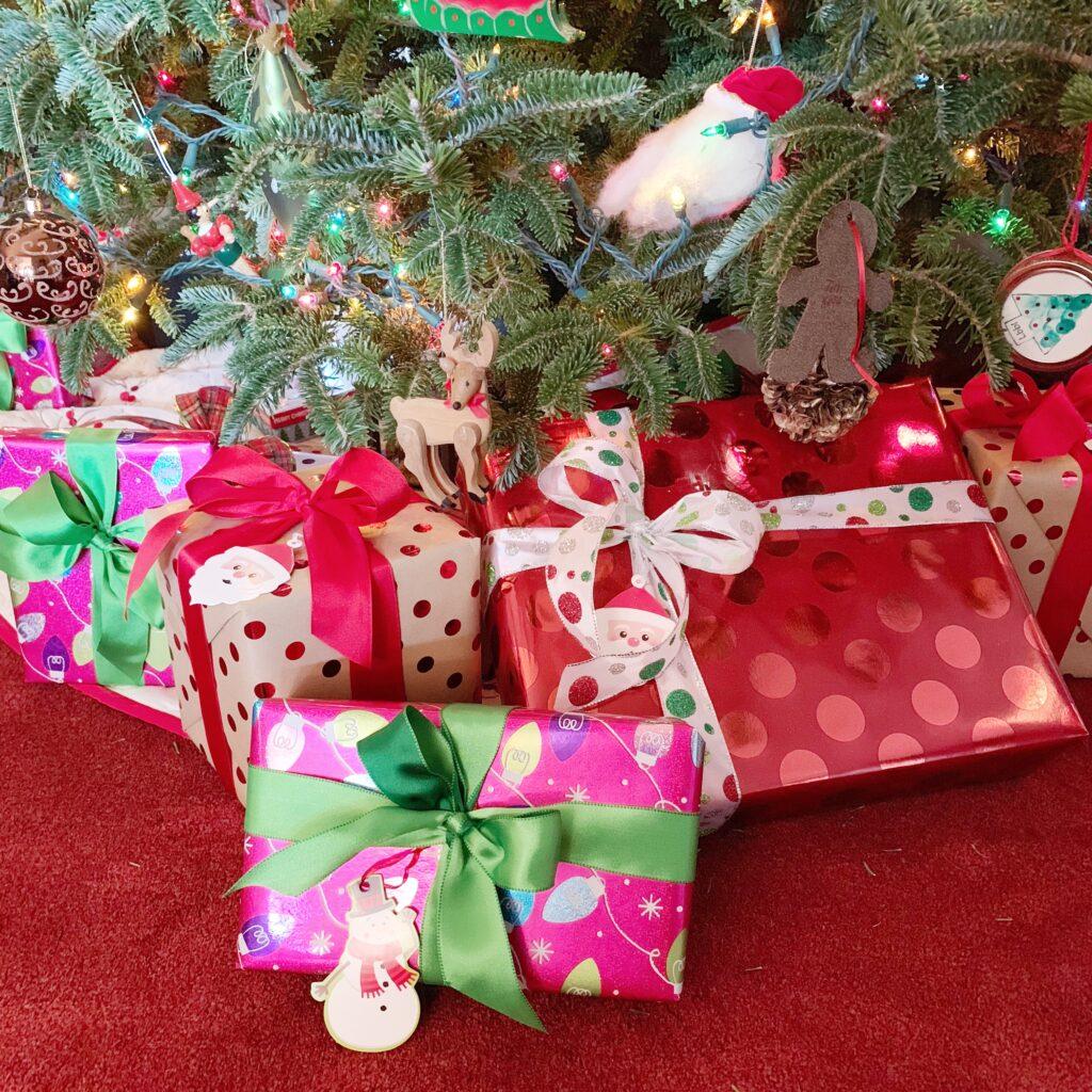 Reuse ribbon to wrap present each Christmas