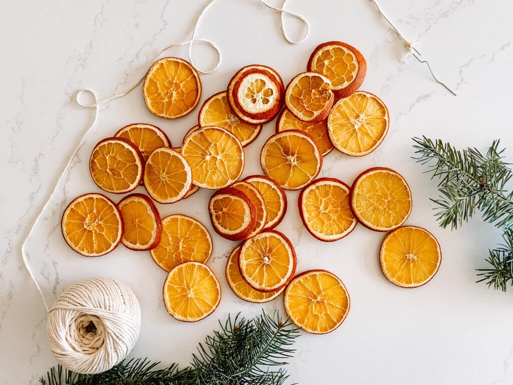 DIY dried orange garland for holiday decorating