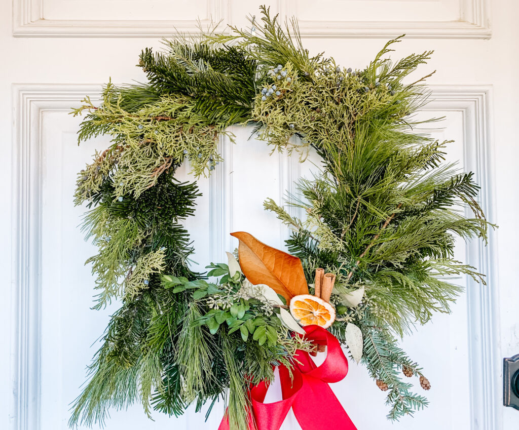 Compostable wreath made with natural elements