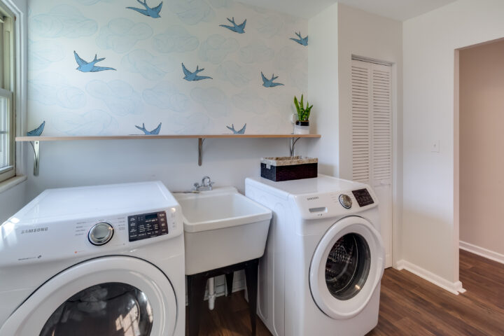 When staging your home, declutter every room, including the laundry room