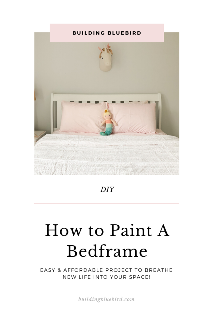 Step by step tutorial to paint your old bed frame and modernize your space! #painttutorial #upcycle #paintingfurniture #tutoral #homerenovation