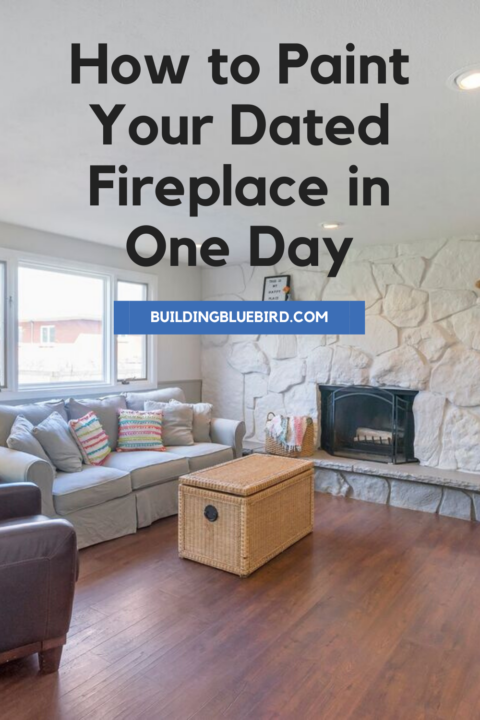 Step by step tutorial on how to paint your dated, rock fireplace and brighten up the space #fireplaceupdate #diy #painttutorial
