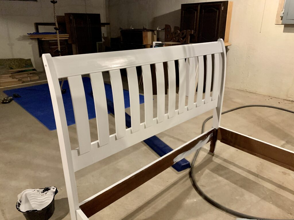 Painting the bed with a satin finish