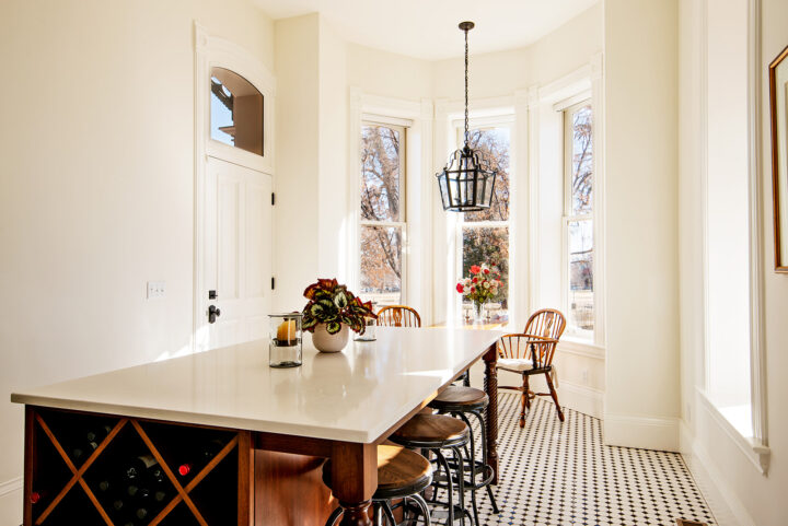 Historic Bosler house - large kitchen island and eating nook