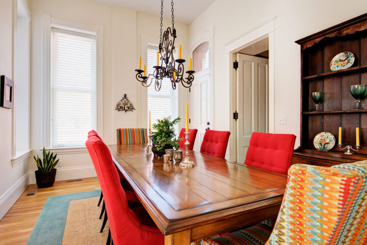 Antique furniture placed in the dining room of this historic Denver home
