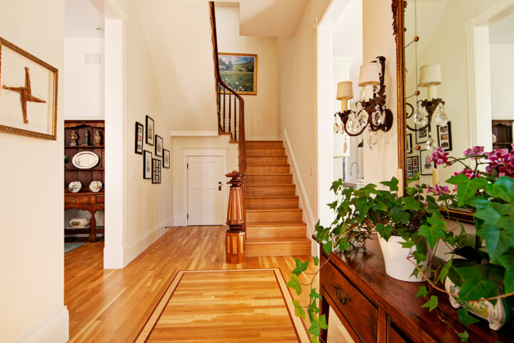The staircase was one of the few items they were able to restore that was original to the historic home