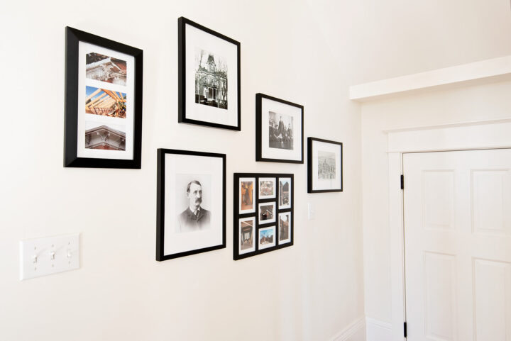 The history of the Bosler House on display in the hallway