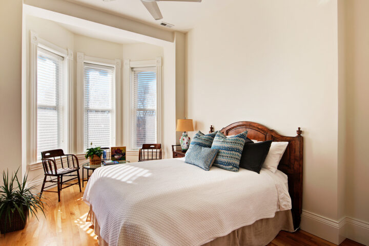 Guest bedroom in the historic Bosler House in Denver, CO