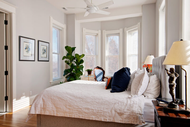 Renovated master bedroom overlooking the park