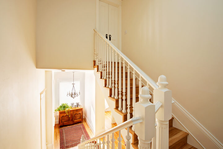 Staircase to the third floor of the historic Denver home