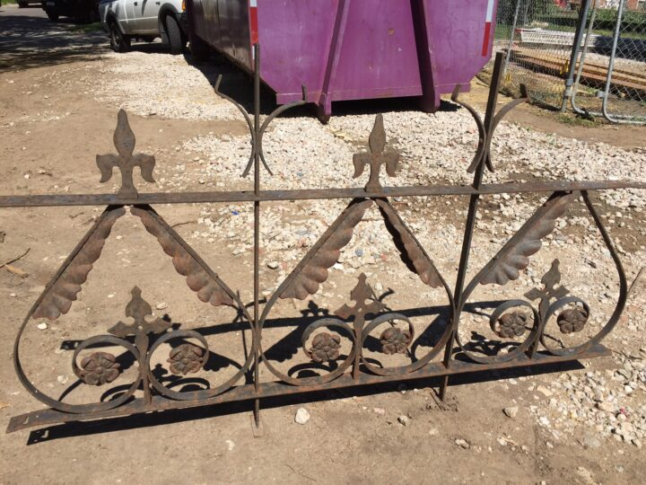 Iron railing found at a salvage shop that was replicated for the house
