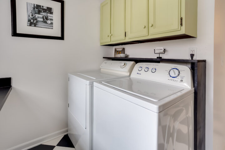 DIY floating shelf in laundry room