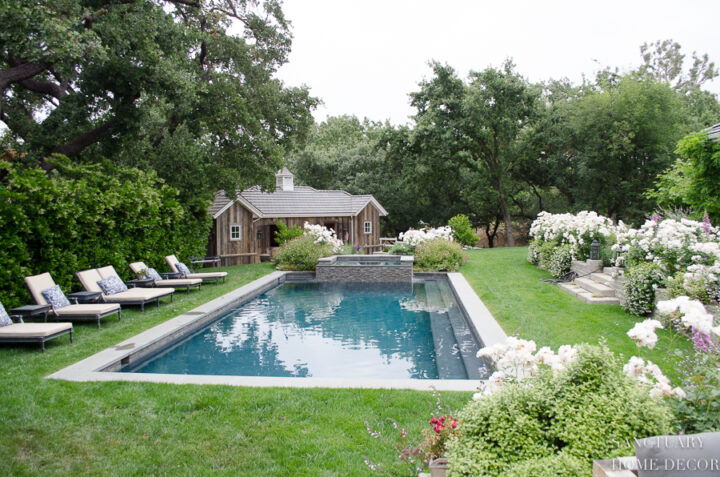 Beautiful pool among an English garden landscape