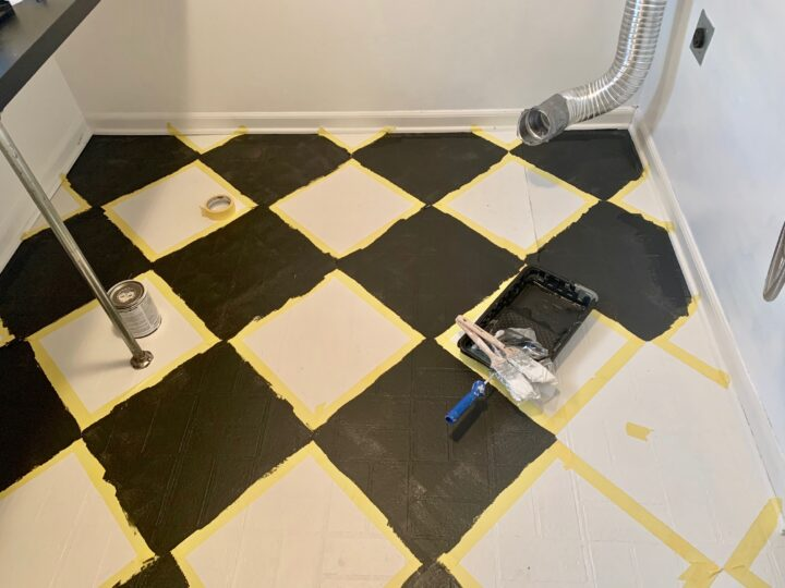 How to paint a checkered pattern on your floor using Rust-Oleum rock solid