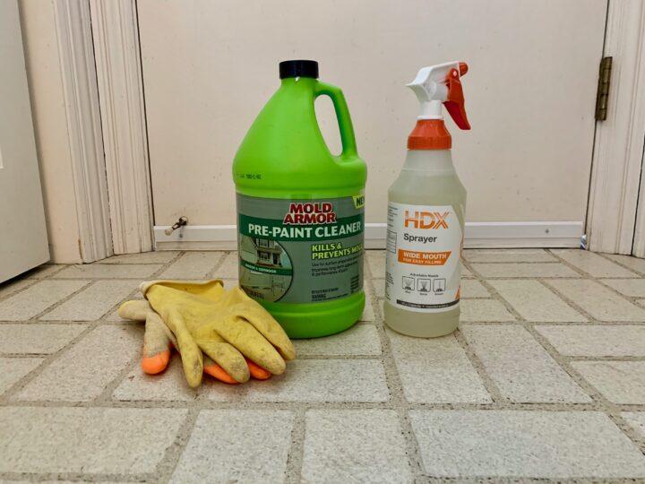 Clean the floors before applying Rust-Oleum rock solid paint