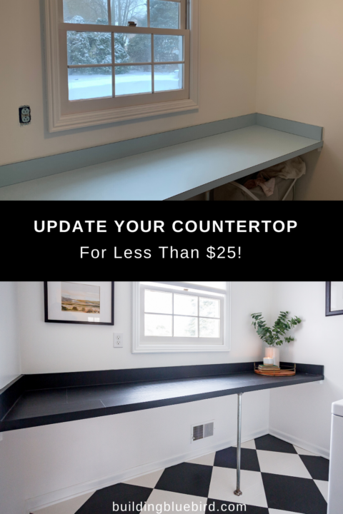 Quick and easy DIY to update your laminate countertop with contact paper | Building Bluebird #diy #moderndesign #tutorial