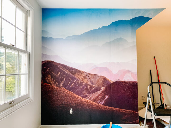 How to easily install a wallpaper mural on your wall | Building Bluebird  #rebelwalls #tutorial