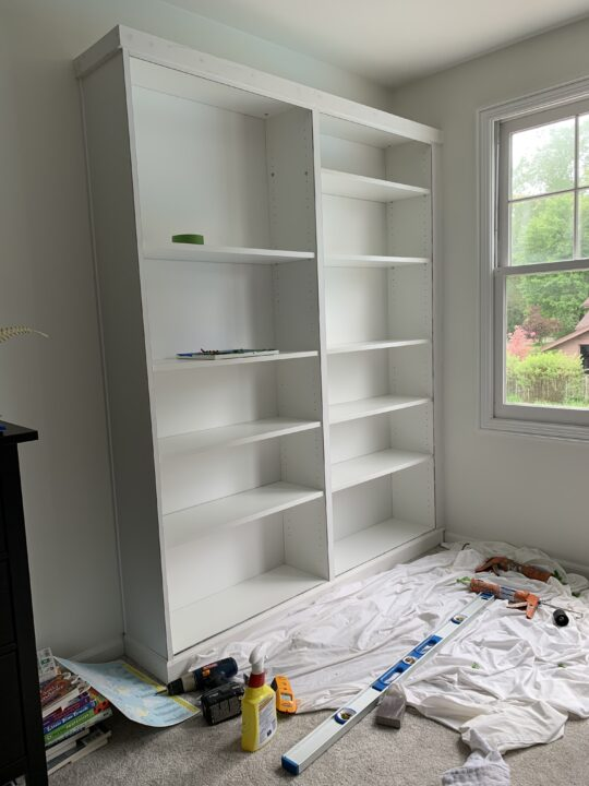 DIY bookcase trim hack