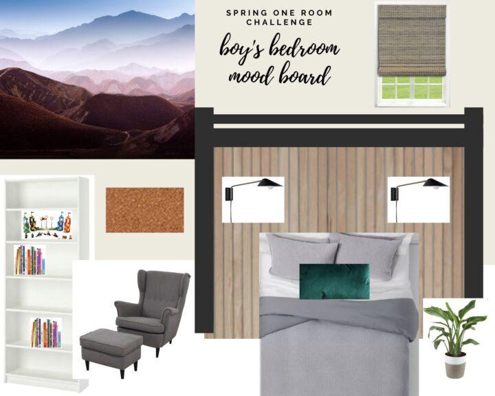 Modern boy's bedroom mood board | Spring One Room Challenge - Week 1