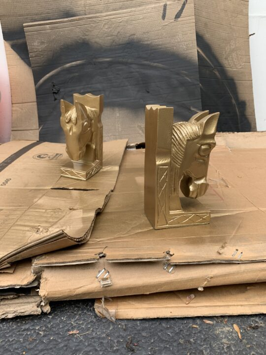 Spray painted bookends for an updated look   DIY