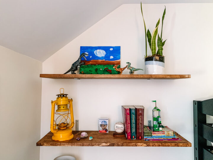 Open shelf styling for a little boy