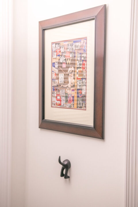 Ted Williams poster and quirky towel hook