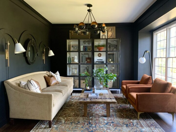 Moody living room transformation by Haneen's Haven