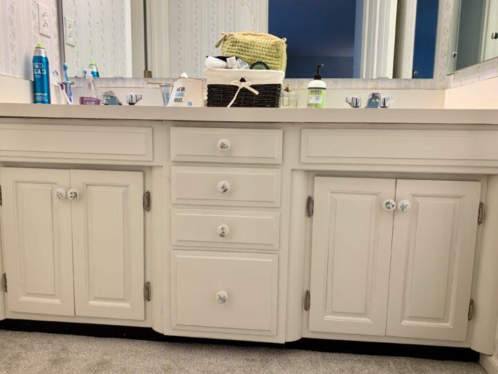 Built-in vanity in 1960's bathroom