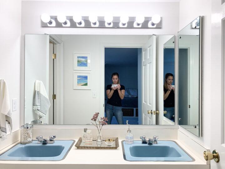 Master bathroom makeover on a budget | Building Bluebird #retrobathroom #bathroomakeover