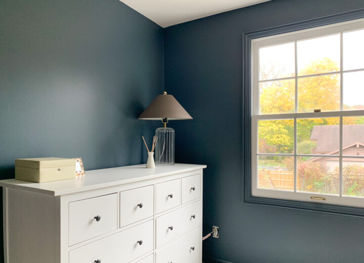 Outerspace by Sherwin Williams on the walls and our IKEA dresser | Building Bluebird