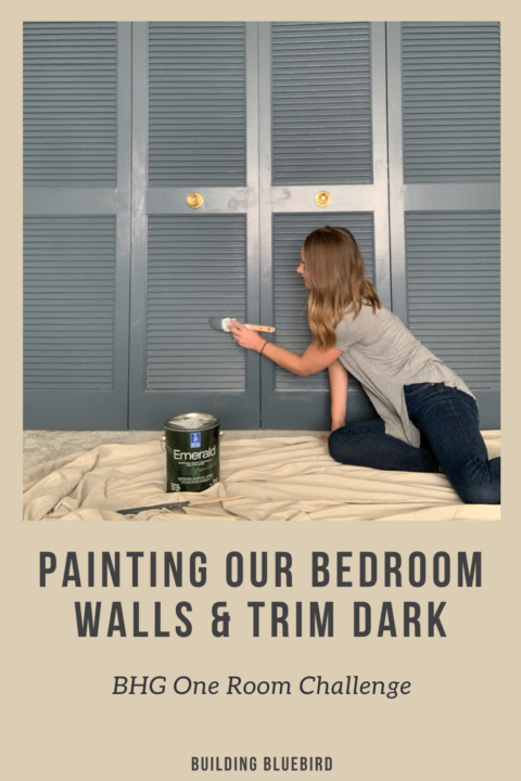 Master bedroom makeover with a moody blue wall and trim color - Outerspace by Sherwin Williams | Building Bluebird #orcbhg #orc #oneroomchallenge #sw6251 #swcolorlove #paint