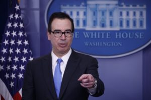 Secretary of Treasury Steve Mnuchin speaks at a briefing at the White House on Feb. 23, 2018