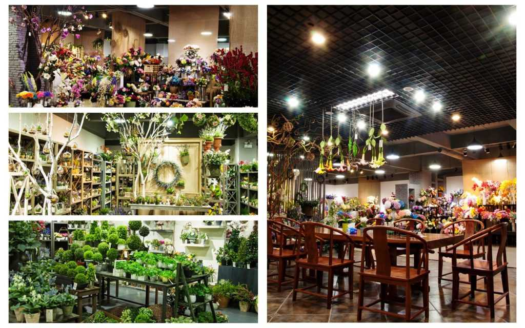 supplier of artificial flowers showroom