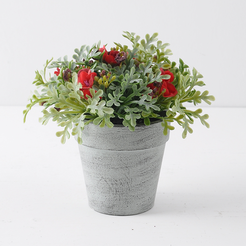Nordic style Artificial Mini wild potted plant RED