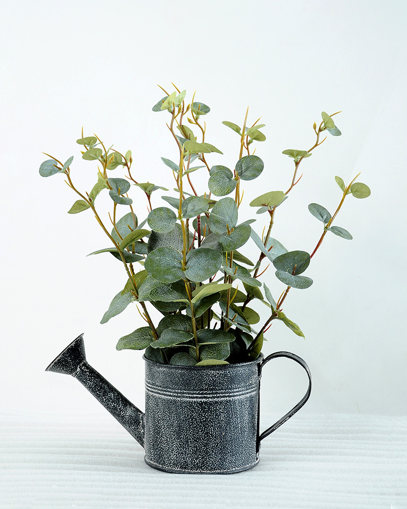 Artificial Plant H:32cm Laef in Metal watering can GS-6660614