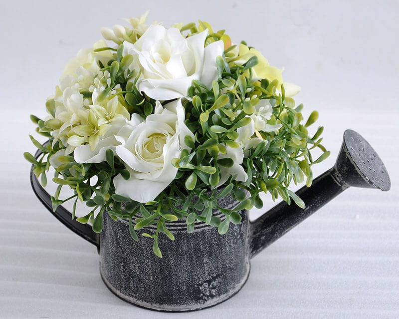 GS 0690545A P W1 - Factory selling Artificial Flower Products-  Rose In Watering Can Kettle Garden Flower Pot Plant