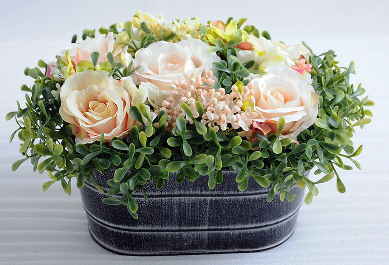 GS 0690546A P P1 - Factory selling Artificial Flower Products-  Rose In Watering Can Kettle Garden Flower Pot Plant