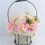 Artificial Flower 25*25*37cm rose hydrangea in metal frame with flax bag GS-06919023-P1